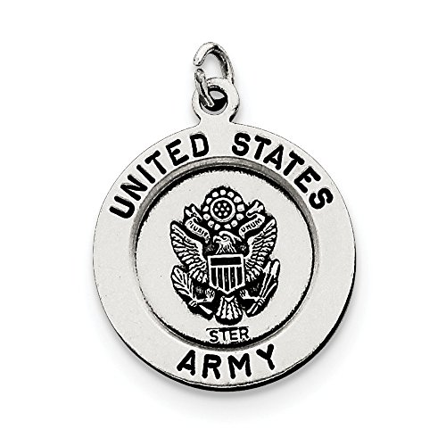 Solid 925 Sterling Silver Antiqued-Style Saint Michael Army Medal (20mm x 26mm)