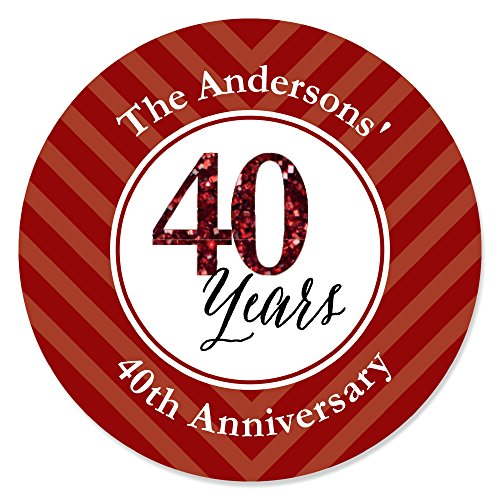 Big Dot of Happiness Custom We Still Do - 40th Wedding Anniversary - Personalized Anniversary Party Circle Sticker Labels - 24 Count ()