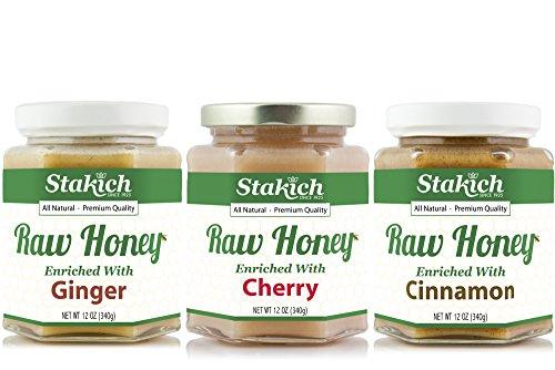 - GIFT PACK - Stakich Cherry RAW HONEY 12-OZ, Cinnamon RAW HONEY 12-OZ, Ginger RAW HONEY, 12-OZ - Pure, Unprocessed, Unheated, KOSHER