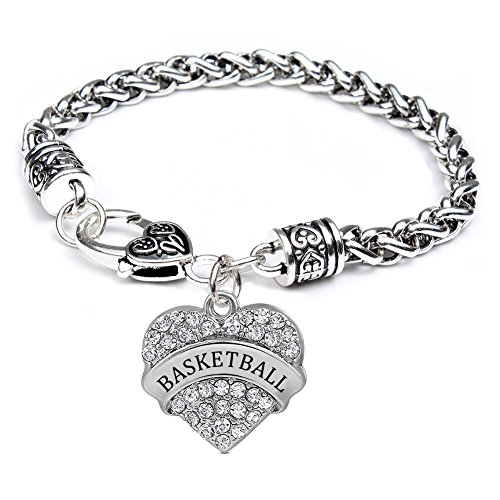 (Basketball Gifts Heart Bracelet for Women Girl Charm - White Crystal Silver Jewelry)