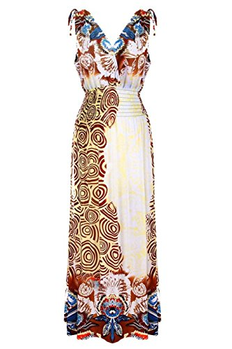 2LUV Women's Plus Size Shoulder Ties Floral Summer Holiday Resort Maxi Dress Yellow 3XL (3239-3XL) ()
