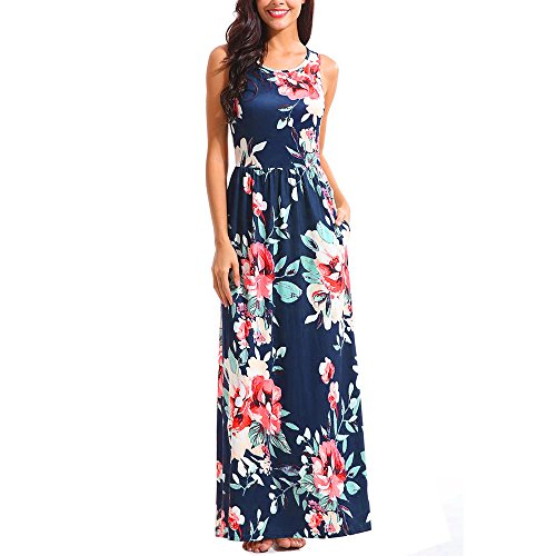 Price comparison product image Muranba Women Dress Clearance,  Women's Floral Print Round Neck Sleeveless Long Maxi Casual Dress (Nave,  L)