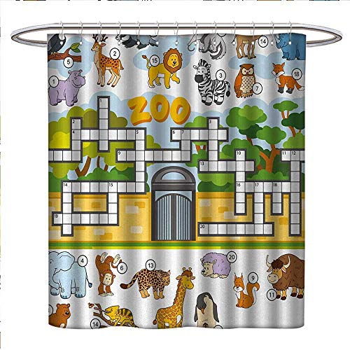 (Anniutwo Word Search Puzzle Shower Curtains Digital Printing Zoo Themed Education Game with Different Animals Numbers and Words Print Bathroom Accessories W36 x L72 Multicolor)