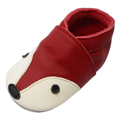 YIHAKIDS Soft Sole Baby Shoes Infant Toddler Leather Moccasins Cute Fox Slippers (4-4.5 US/0-6 MO./4.7in, Red) - Image 7