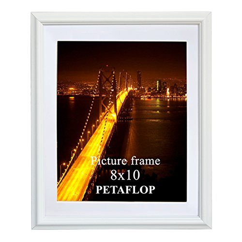 - PETAFLOP 8x10 Picture Frames White 8 by 10 Decorative Poster Frame Wall Display