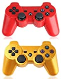 XFUNY® Pack of 2 Wireless Bluetooth Game Controllers for Sony PlayStation 3 PS3 Double Shock (1 Red + 1 Gold)