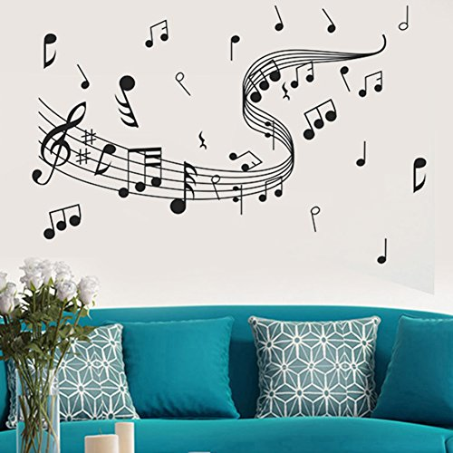 Alphabet Name Note - lightclub Removable Music Notes Notation Band Wall Sticker Art Decal Room Home Decor Gift Black