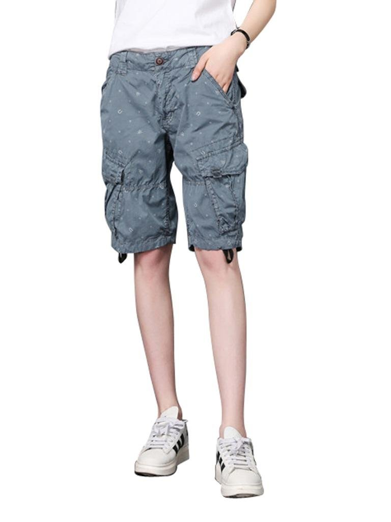 MUST WAY Women's Casual Loose Fit Relaxed Plus Size Twill Bermuda Cargo Shorts with Multi Pockets Blue 18330GKNK8# 38