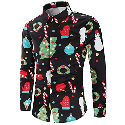 Men Casual Bright Festival Christmas Theme Button Up Colorful Slim Fit Shirt Tops Black (Ideas Outfit Christmas Vacation)
