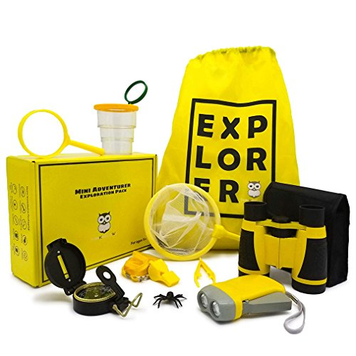 (Mini Adventurer Exploration Pack by Thinking Owl - Binoculars, Flashlight, Magnifying Glass, Whistle, Compass, Butterfly Net, Bug Container, Tweezers, Backpack, Binocular Bag - Kids Exploration)
