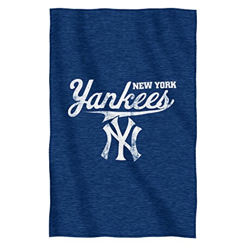 "Officially Licensed MLB New York Yankees Script Sweatshirt Throw Blanket, 54"" x 84"""