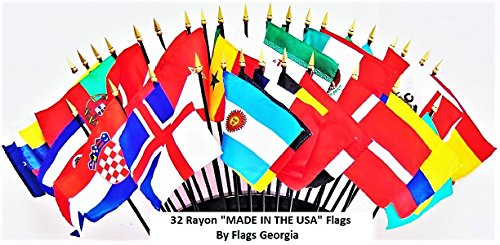 fan products of WORLD CUP 2018 SOCCER FLAGS 2018- SET of 32 MADE IN THE USA Rayon 4