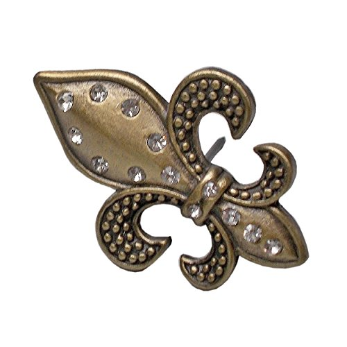 Candle Pin, Fleur de lis Design - Brass finish w/crystals. Boxed