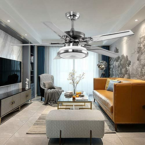 LuxureFan 48Inch Modern Led Ceiling Fan Light Led Light 3 Colors Change 5 Stainless Steel Blades Decoration Home Ceiling Fan