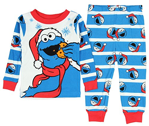AME Sesame Street Toddler Santa Cookie Monster Christmas 2 Piece Pajamas 12 Month (Cookie Monster Winter Hat)