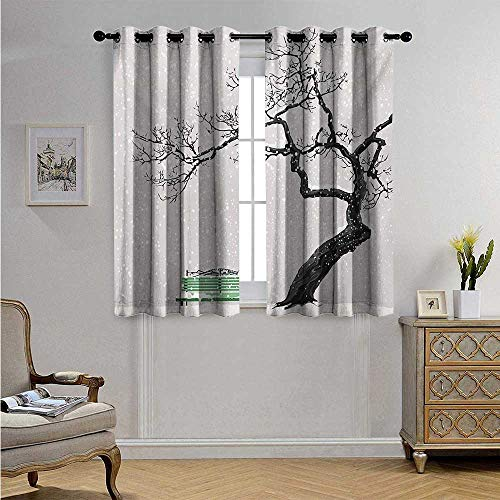 Drapes Fireside - Tree Drapes for Living Room Dramatic Winter Scenery with Retro Bench and Lonely Tree in a Cold Day Blackout Drapes W55 x L72(140cm x 183cm) Charcoal Grey Sea Green