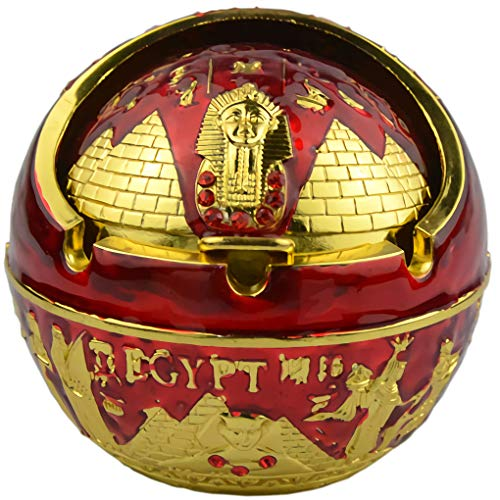 Exquisite Exotic Ball Ashtray Ancient Egypet Egyptian Style Pyramid of Pharaoh Pattern Spherical Pattern Windproof Ashtray Home Office Decoration Perfect Father's Day Dad Gift Business Gift (A2 Red)