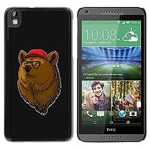 Paccase / SLIM PC / Aliminium Casa Carcasa Funda Case Cover para - Cool Hipster Bear - HTC DESIRE 816