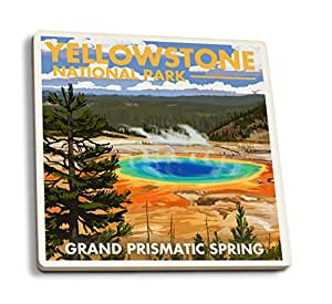 Yellowstone National Park, Wyoming - Grand Prismatic Spring (Set of 4 Ceramic Coasters - Cork-backed, Absorbent)