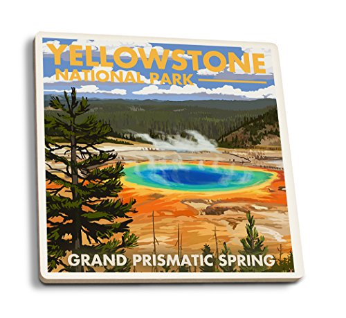 Lantern Press Yellowstone National Park, Wyoming - Grand Prismatic Spring (Set of 4 Ceramic Coasters - Cork-Backed, Absorbent)