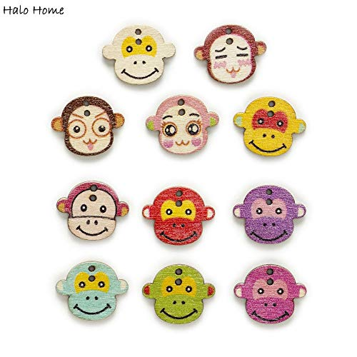 Maslin 50pcs 2 Hole Mixed Monkey Wood Buttons Clothing Home Decor Crafts Sewing Scrapbooking - Monkey Button
