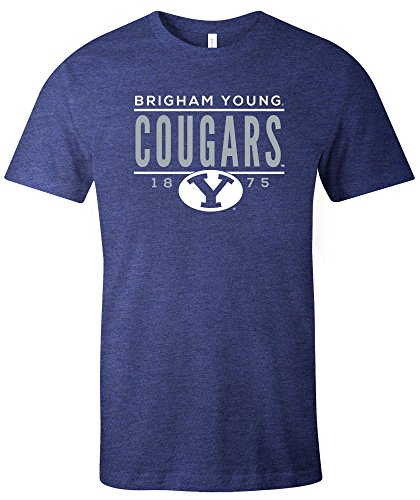 NCAA Byu Cougars Tradition Short Sleeve Tri-Blend T-Shirt, Navy,XX-Large