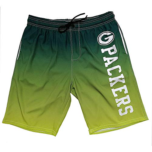 Gloral HIF Green Bay Packers Swim Shorts Gradient Shorts Training Shorts Athletic Shorts for Men L