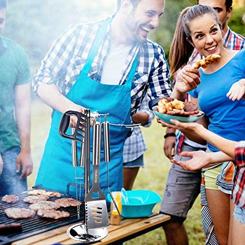 esonmus Kit Barbecue,7 Pcs Ensemble Ustensiles Barbecue en Acier Inoxydable avec Mallette,pour Grillade,Jardin Extérieur,Randonnée et Voyage,Idéal Cadeaux pour Homme Papa