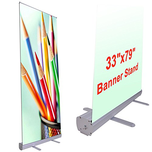 COMLZD® Aluminum 33''x79'' Retractable Roll Up Banner Stand Pop Up Trade Show Display by COMLZD®