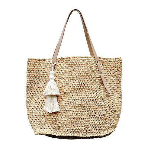Natural Raffia Straw Tote Leather Handles Shoulder Bag Womens (Natural/Natural)