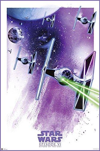 Star Wars: Episode VI - Return Of The Jedi - Movie Poster/Print (Space Battle/Watercolor Art) (Size: 24