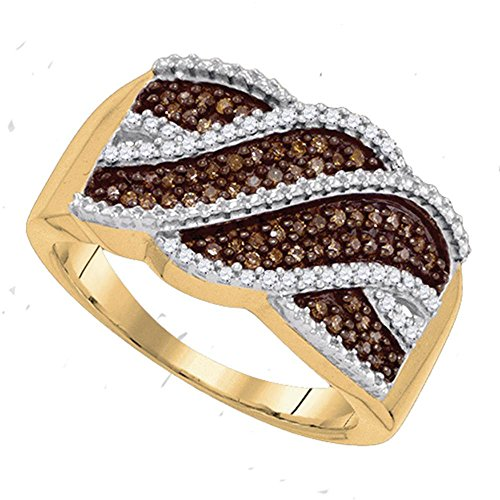 Sonia Jewels Size 8-10K Yellow Gold Chocolate Brown & White Round Diamond Fashion Ring - Channel Setting (1/3 cttw.) ()