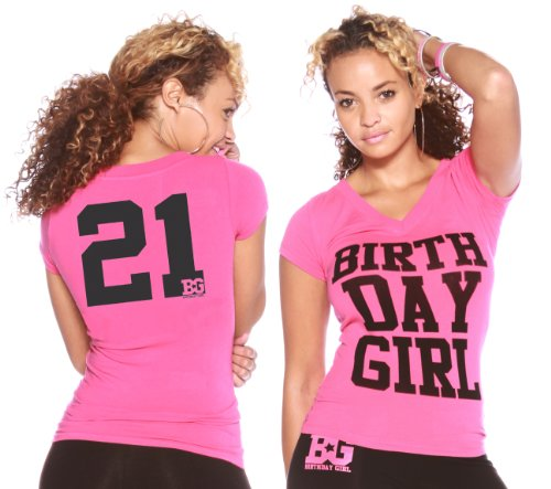 21st Birthday Gift Shirt for Women - Girl's Bday Outfit - Pink Medium (Charity Gift Basket Ideas)