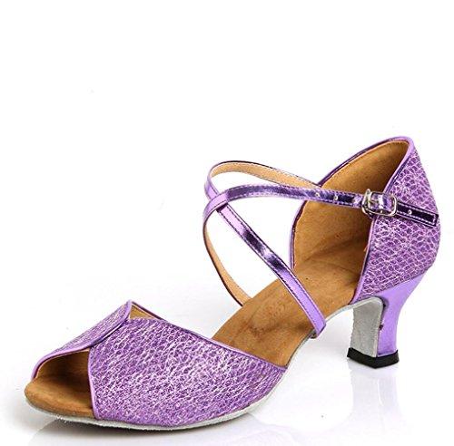 in Tanzschuhe Erwachsenen 5cm mit das 7 Schuhe Latin Lila Leder qpwtw