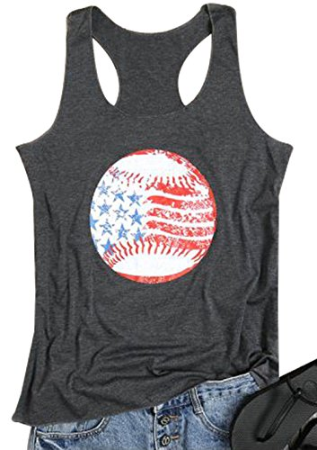 (Women American Baseball Flag Tank Top Sleeveless Patriotic Racerback Tank Top Shirt Size S (Gray) )