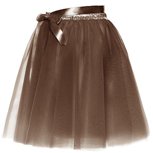 Slip Layered Party Short Amovible Femmes Sash Brun Prom Jupe Jupon Bowknot Tulle BeiQianE tYUpqWP