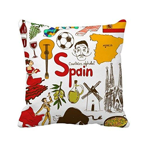 MurielJerome Spain Landscap Animals National Flag Square Throw Pillowcase Cover Family Friends Cushion Cover Home Sofa Decor Gift 18 x 18 inches. by MurielJerome