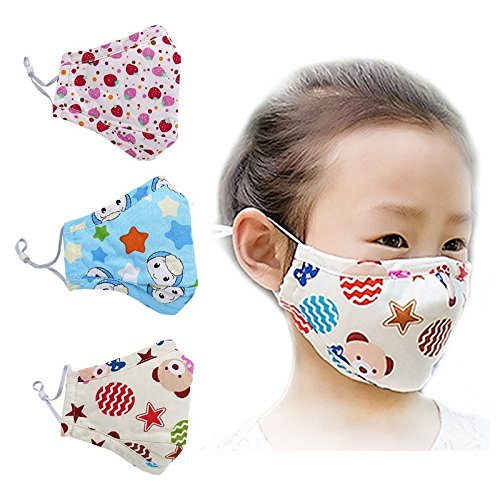 TOOGOO(R) Masks Cartoon Cotton Mask Children's PM2.5 Gauze Mask Dust proof Face Mask Pack of 3 1 blue smiling face 1 strawberry 1 brown bear (Face Pack Strawberry)