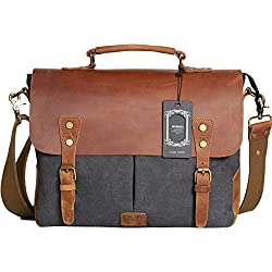 "Wowbox Messenger Satchel bag for men and women,Vintage canvas real leather 14-inch Laptop Briefcase for everday use 13""(L)x10.5""(H) x 4.1""(W)(Gray)"