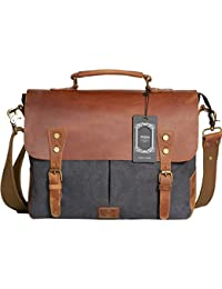 """Messenger Satchel bag for men and women,Vintage canvas real leather 14-inch Laptop Briefcase for everday use 13""""(L)x10.5""""(H) x 4.1""""(W)(Gray)"""