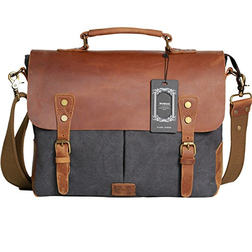 Wowbox Messenger Satchel bag for men and women,Vintage canvas real leather 14-inch Laptop Briefcase for everday use 13'(L)x10.5'(H) x 4.1'(W)(Gray)