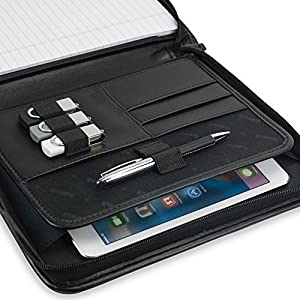 "Samsill 70821 Professional Padfolio - Resume Portfolio / Business Portfolio with Secure Zippered Closure, Junior Size, 10.1-inch Tablet Pocket, Expandable Document Organizer & 7""x10"" Writing Pad"