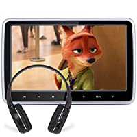DDAUTO DD1018DS Headrest DVD Player 10.1 inch Ultra-thin Multimedia Player Raspberry Pi Monitor with HDMI Port Included Remote Control Wall Charger and IR headphone
