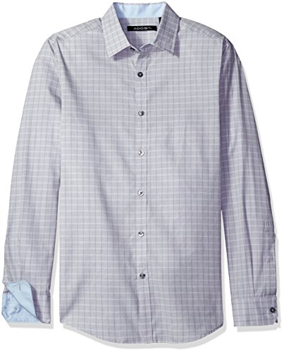 Tonal Plaid Shirt (Axist Men's Long Sleeve Tonal Plaid Shirt, Silver Filigree, Large)
