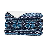Sunbeam TST8TR-RB32-31A50 Royal Mink/Sherpa Reversible Heated Throw, Blue Snowflake Sweater