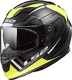 LS2 Stream - Casco de Moto de Cara Completa con Protector Solar, Ejes, Axis Black Yellow, Large