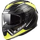 LS2 Helmets 328-1613 Stream Axis Yellow Graphic Unisex-Adult Full-Face-Helmet-Style Motorcycle Helmet (Black, Medium)