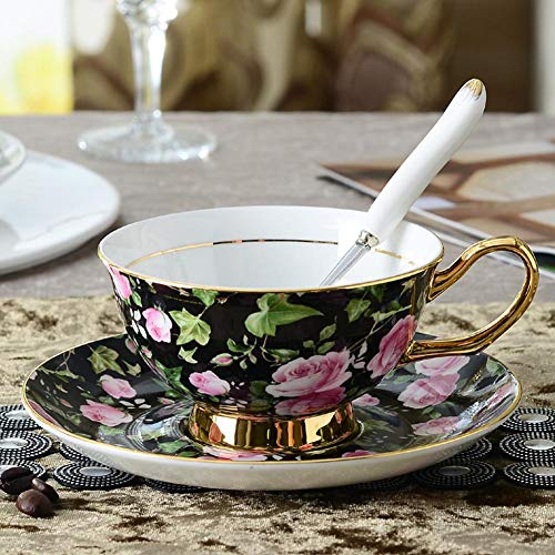 (ACOOME Tea Cup and Saucer Set-6.8oz Bone China Teacup Fine Dining and Table Decor (Black))