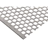 """304 Stainless Steel Perforated Sheet, Unpolished (Mill) Finish, Annealed, Staggered 0.25"""" Holes, 0.06"""" Thickness, 17 Gauge, 12"""" Width, 12"""" Length, 0.3125"""" Center to Center"""
