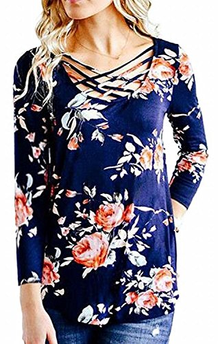 Walant Women's Floral Printed Long Sleeve Criss Cross V-Neck Casual Tops T-Shirt